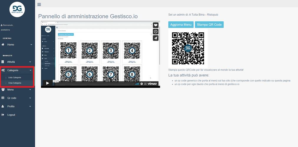 la dashboard di gestisco io, il nostro servizio per creare un menù digitale gratuito