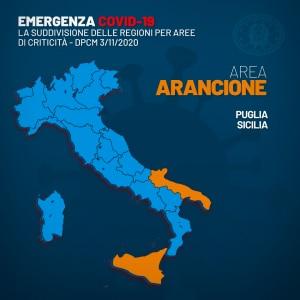 mappa delle regioni in fascia arancione secondo il dpcm 3 novembre 2020