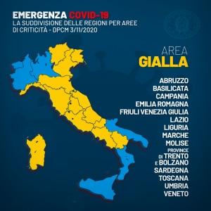 mappa delle regioni in fascia gialla secondo il dpcm 3 novembre 2020