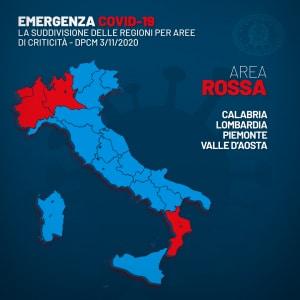 mappa delle regioni in fascia rossa secondo il dpcm 3 novembre