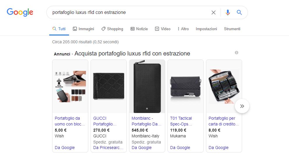 esempio di annunci di una shopping campaign su Google Ads